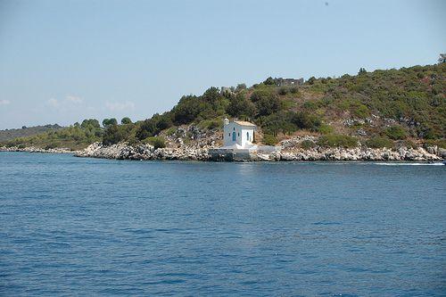 Agios Andreas Chapel - Vathy harbor entrance, Ithaki, Greece