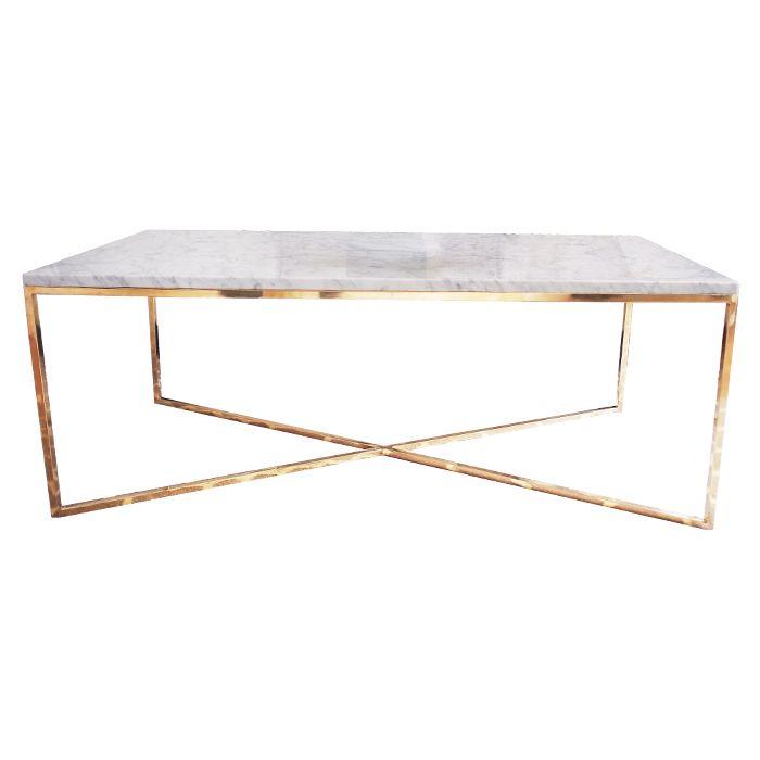 Marmorbord. Soffbord marmor med toppskiva i vit, grön eller svart marmor. Bordsunderrede i äkta polerad mässing. 120x60cm