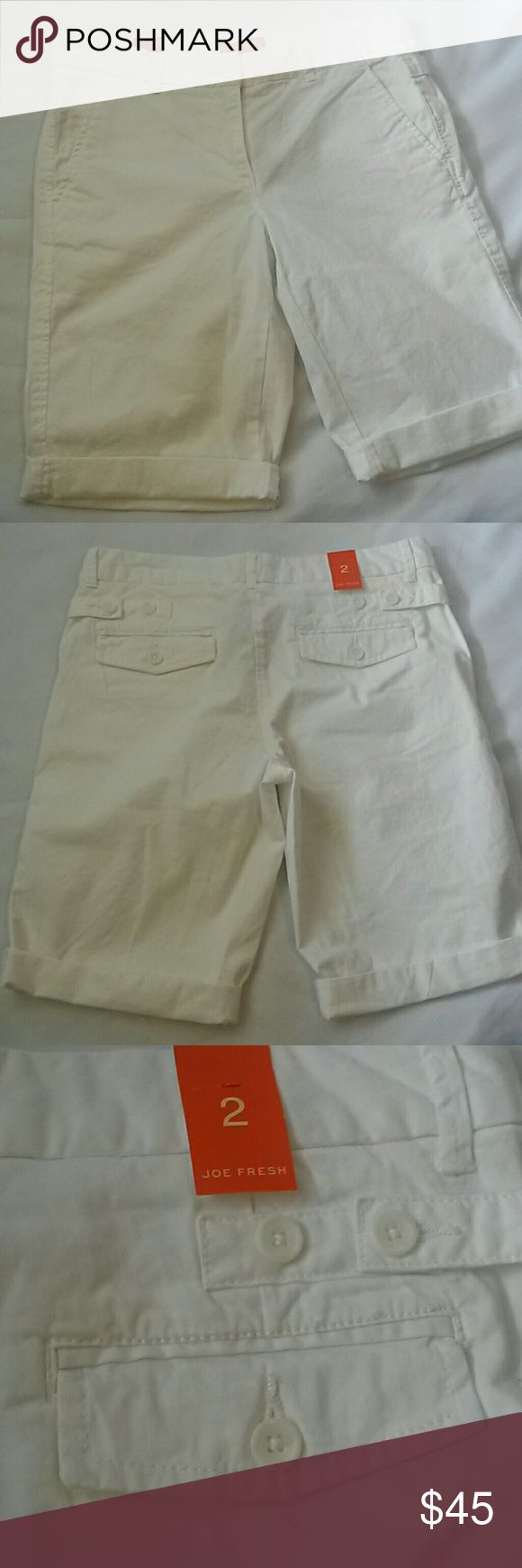 Joe Fresh cropped shorts size 2 NWT Joe Fresh cropped shorts size 2 NWT Inseam- 10 inches Waist- 16 inches Rise- 9 inches It looks like there is a mark on the butt, it might wash out. Joe Fresh Shorts