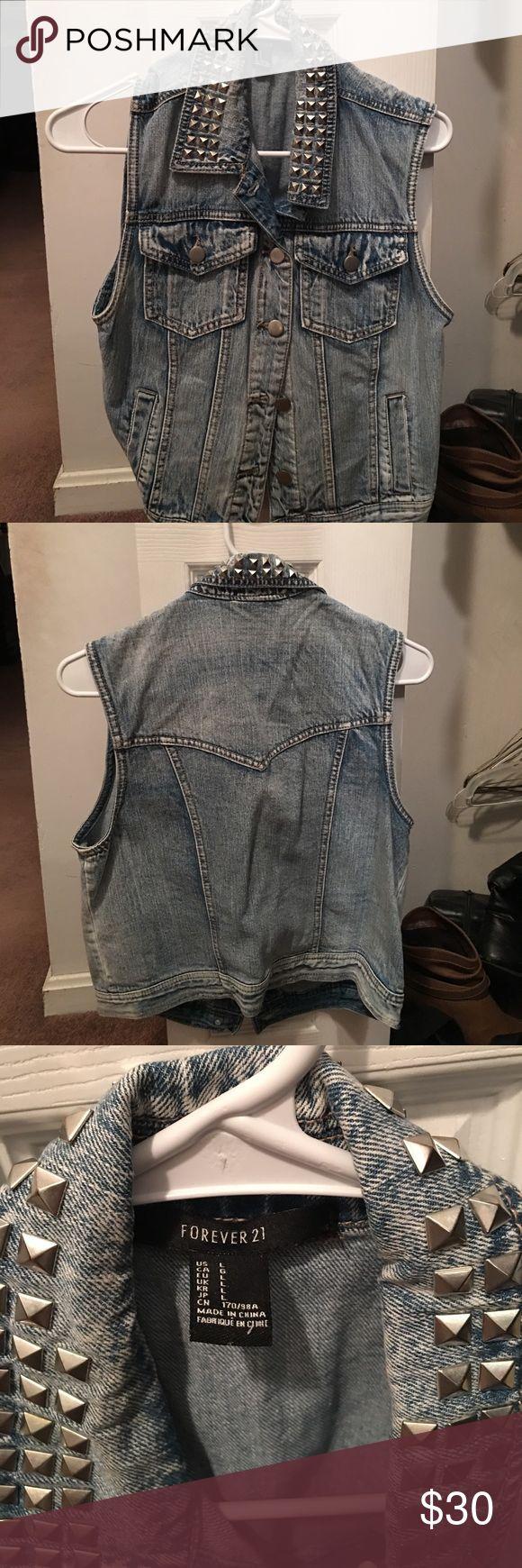 Forever21 studded collar jean vest Stylish studded collar jean vest from forever21 Forever 21 Jackets & Coats Vests