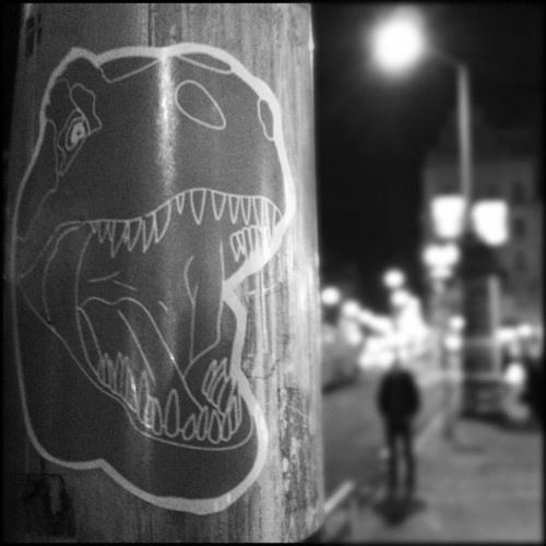 T-Rex at night near Astoria in Budapest