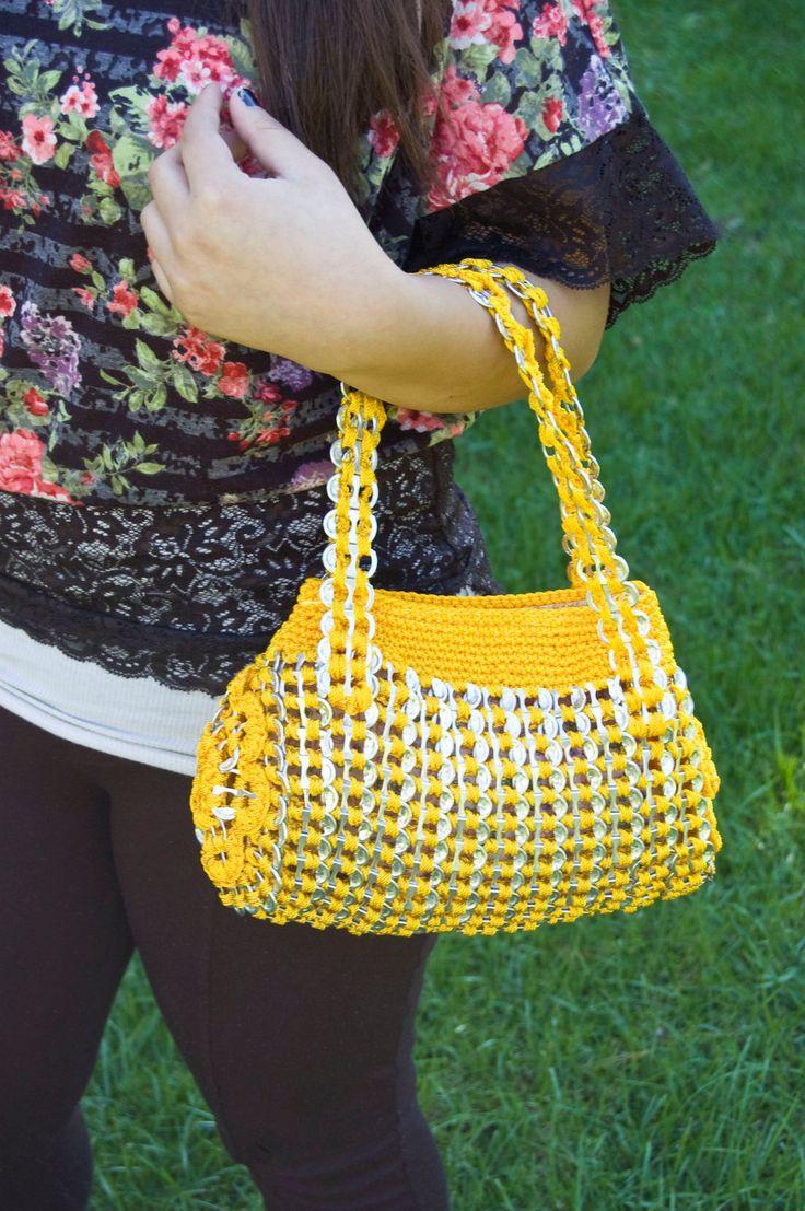 Upcycled Golden Yellow Crochet Pop Tab Hand Bag. $40.00, via Etsy.
