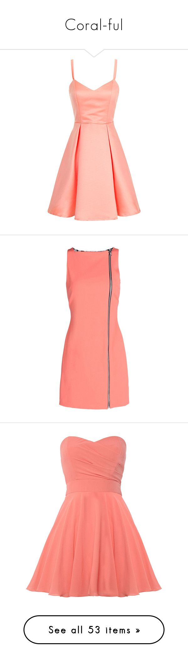 """Coral-ful"" by mrseclipse ❤ liked on Polyvore featuring dresses, vestidos, short dresses, pink, coral, coral cocktail dress, coral dress, red cocktail dress, bow back dress and opening ceremony dress"