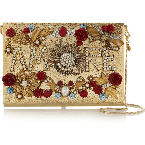 Dolce & Gabbana Virna embellished gold-tone clutch found on Polyvore featuring bags, handbags, clutches, gold, dolce gabbana handbag, brown handbags, embellished purses, dolce gabbana purse and rose handbag