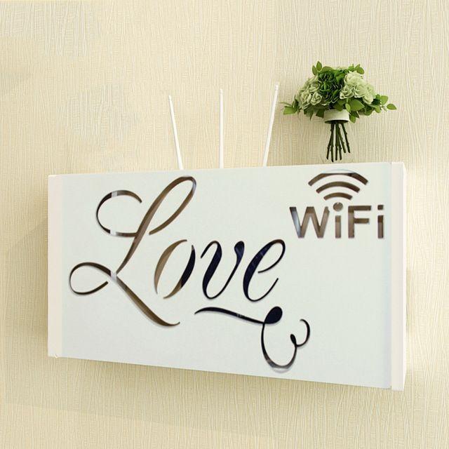 yazi Wireless Wifi Router Storage Box Wood-Plastic Shelf Wall Hangings Bracket Cable Organizer