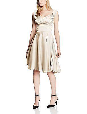 22, Off-White (Ivory), Lindy Bop Women's Octavia Ivory Dress NEW