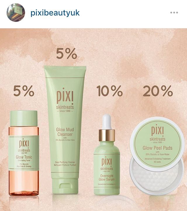 % of glycolic acid in #Pixi products