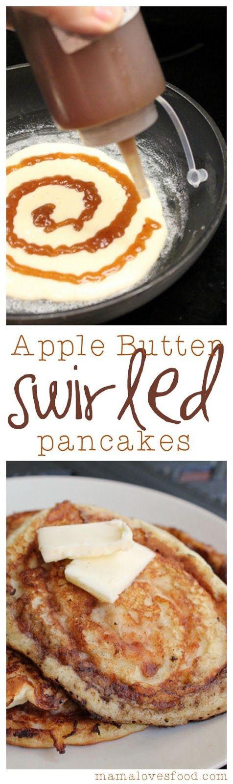 Apple Butter Swirled Pancakes.