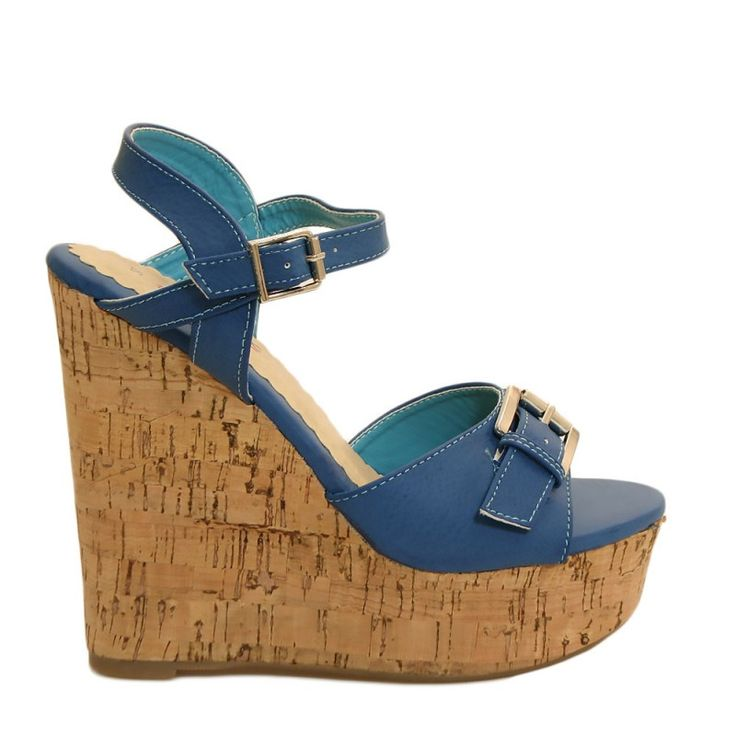 Sandali zeppa sughero blu