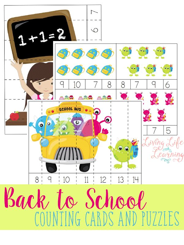 Use these back to school counting cards and puzzles to ...