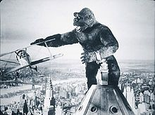 Vintage 1933, King Kong fights off the bi-planes at the top of the Empire State Building, NYC, www.RevWill.com