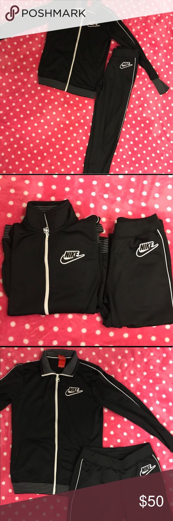 Nike Jogging Suit Black Nike pants and jacket set  White piping  Jogger fit pants  Collared Jacket Nike Other