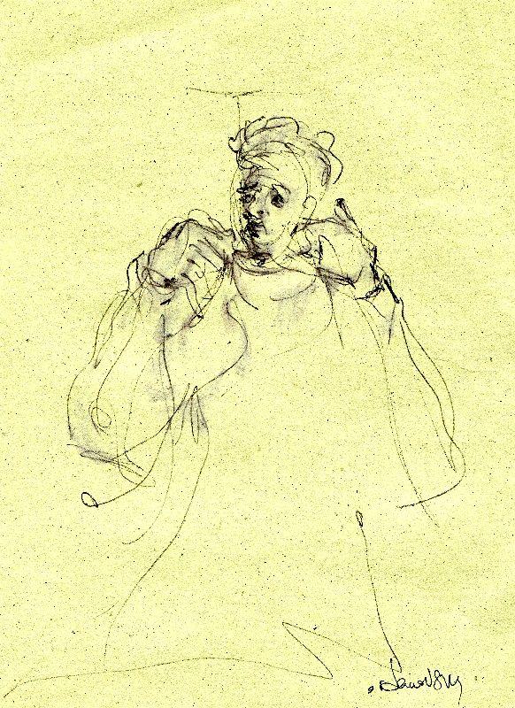 sketch of musician. pen, marker on paper