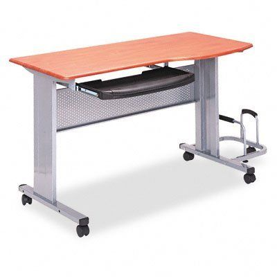 Tiffany 8100TDMEC Eastwinds Mobile Work Table 57w x 23-1/2d x 29h Medium Cherry Laminate Top by Tiffany. $445.51. Pull-out keyboard shelf with wrist rest that flips up to reveal pencil storage. Table top curves forward for comfortable mousing. Overall dimensions include CPU holder. Top Material: Thermofoil Laminate. Top Color: Medium Cherry. Corner/Edge Style: PVC Protective Edge. Post-Consumer Recycled Content Percent: 0 %. Pre-Consumer Recycled Content Percent: 0...