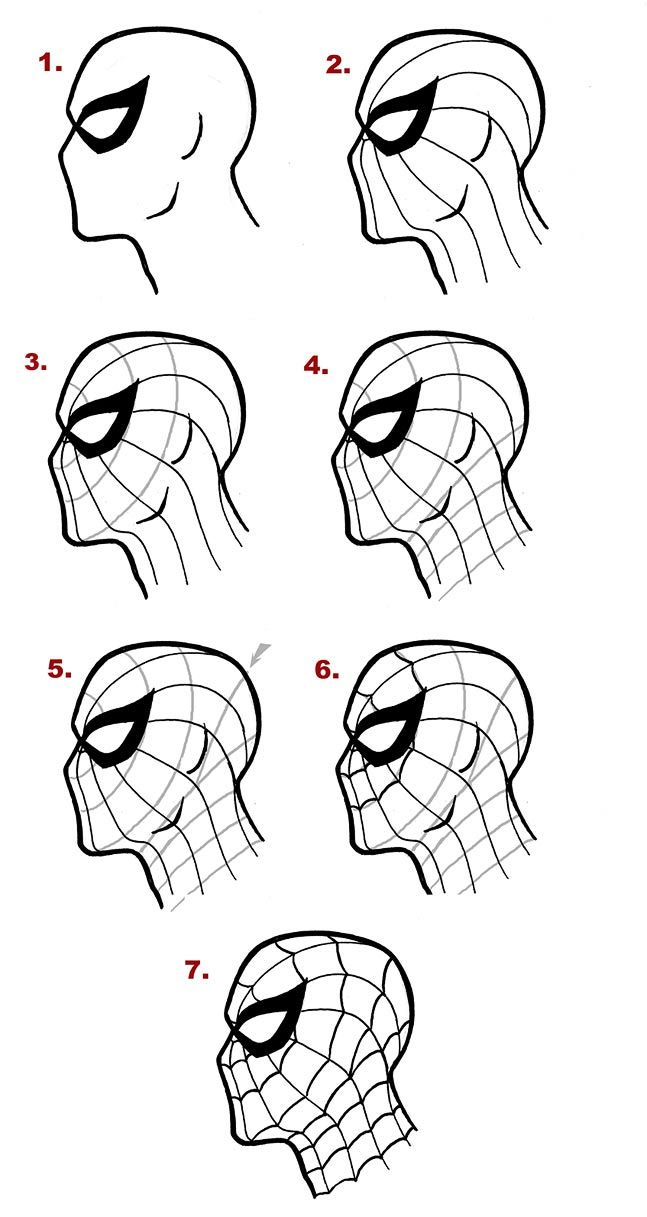 how to draw spider-man's mask from the side http://www.drawcomics.net/how-to-draw-spiderman.html