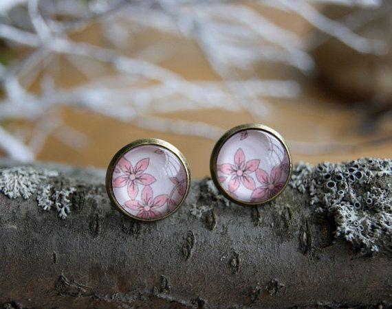Pink Flower stud earrings Glass earrings Print by InviolaJewerly