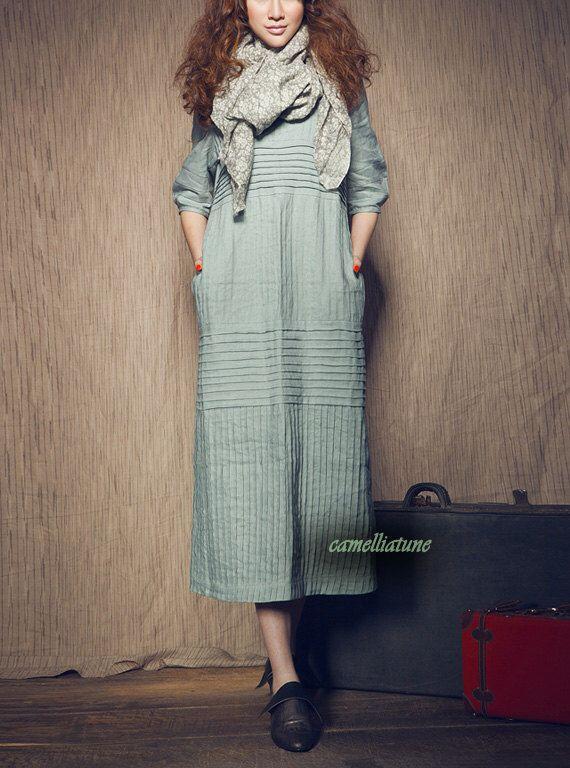 Long Linen Dress in Aqua / Striped Sundress / Loose Kaftan Dress / Maxi Caftan / Oversized Dresses / Plus size Clothing XL,XXL Custom, A3042 by camelliatune on Etsy https://www.etsy.com/listing/101201444/long-linen-dress-in-aqua-striped