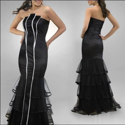Amazon.com: Ever Pretty NWT Elegant Pleated Tiered Lace Hem Strapless Prom Gowns 09346, HE09346BK12: Clothing