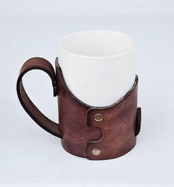 Vintage leather coffee mug holder.