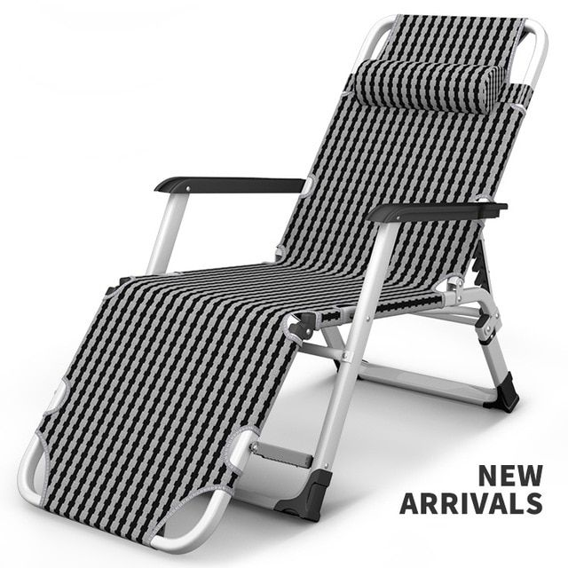 Outdoor Folding Reclining Chair Sitting Laying Deck Chair Sun Lounger Beach Chair Aluminium Garden Nap Couch With Cotton C Deck Chairs Beach Chairs Sun Lounger