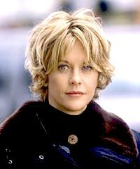 Meg Ryan hair. I like the bangs here. It upsets me that she looks so cute like this and I look like a mess. Still like it, though.