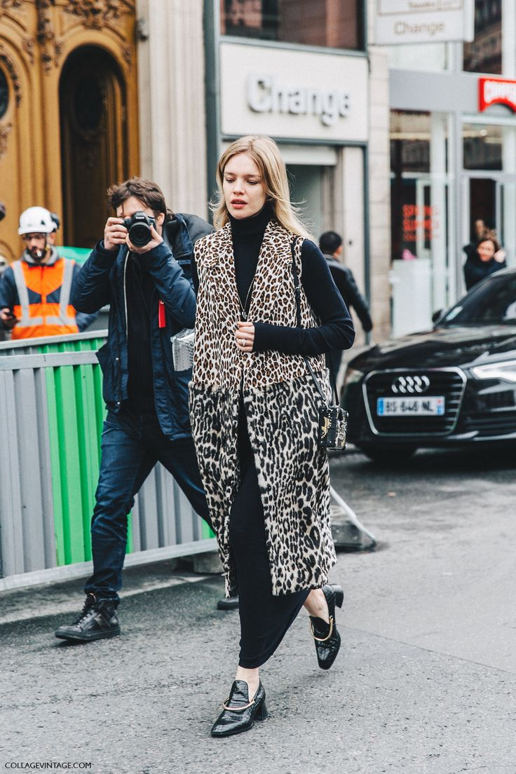 PFW Fall 2016  Natalia_Vodianova in Stella Mccartney leopard vest and LV box