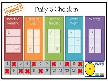 "Finally! Daily-5 Check in you can edit, includes multiple options for countdown timers for each rotation and ability to ""check"" off each student after meeting with them during their rotation! Easiest way to keep track of who goes where during Daily-5!"