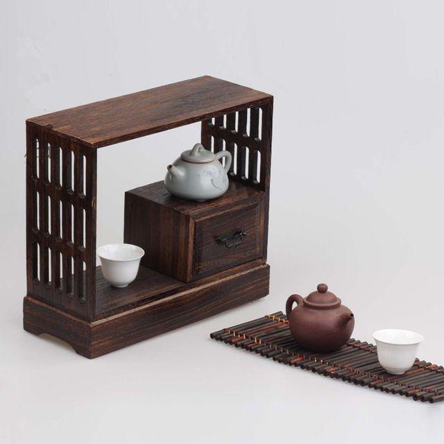 日本アンティーク装飾木材ウォールシェルフ用茶リビングルーム家具木製ビュッフェキャビネット収納ラック棚