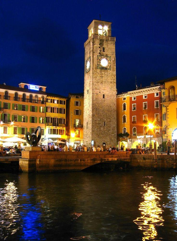Torre Apponale in Riva del Garda by night, Trentino - Italy