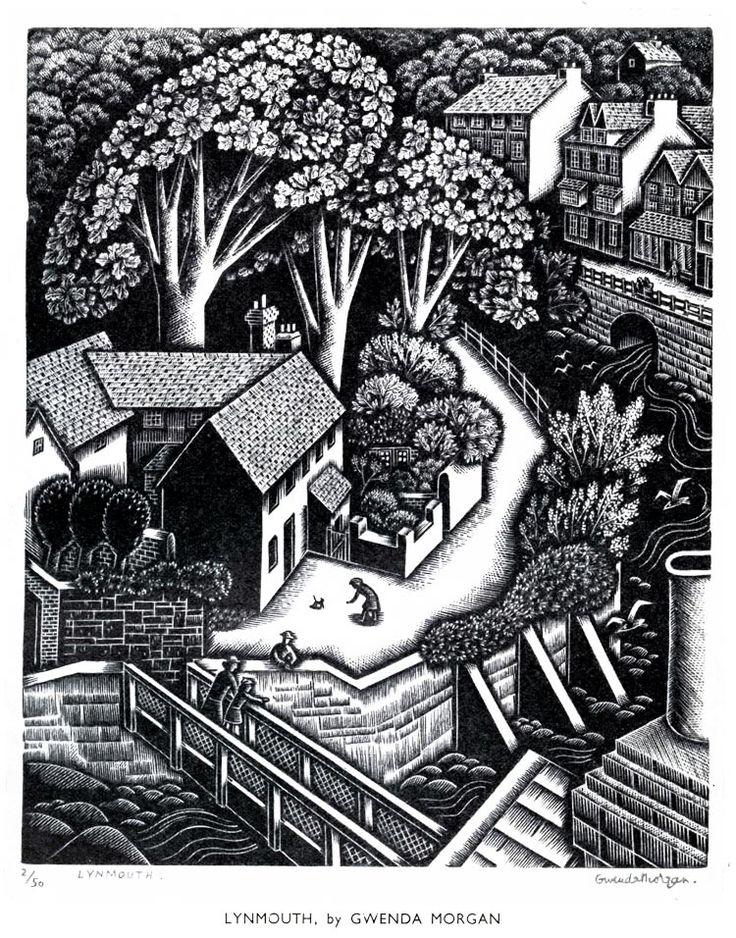 """""""Lynmouth"""" (Devon) by Gwenda Morgan (wood engraving)"""