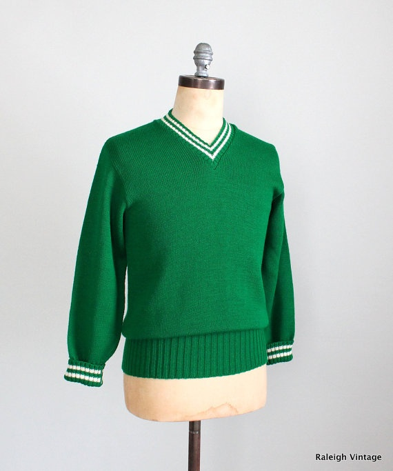 Vintage 1950s Mens Sweater 50s Green Preppy Athletic