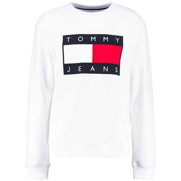 TOMMY JEANS 90S Sweatshirts white ZALANDO ❤ liked on Polyvore featuring tops, hoodies, sweatshirts, white top, tommy hilfiger, tommy hilfiger top, tommy hilfiger sweatshirt and white sweatshirt