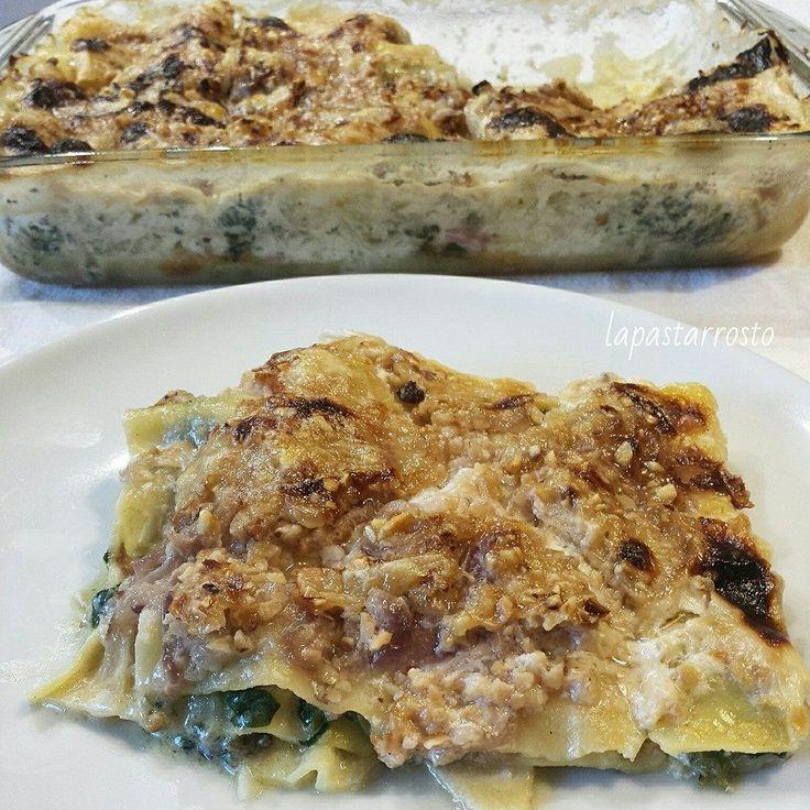 Lasagne con bietole, speck, fontina e nocciole - lasagna, lasagne, bietole, speck, fontina, formaggio, nocciole, swiss chard, cheese, hazelnuts...