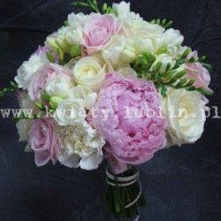 bukiet ślubny z różową piwonią