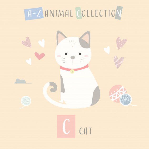 Cute Cat Kitten Cartoon Doodle Animal Alphabet C Premium Vector