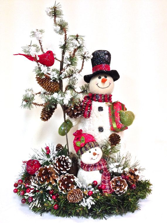 """SOLD!  NEW Snowman Family Custom Designed Holiday  18"""" x 18"""" Large… by SandyNewhartDesigns, $115.00"""
