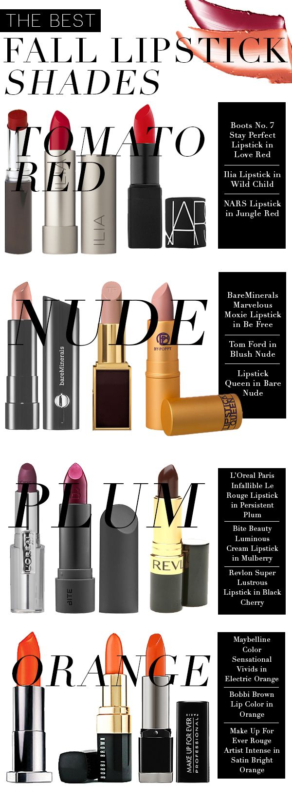 The Best Fall Lipstick Shades via @politics_pretty --love this.