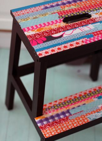 With tape or strips of fabric or papers....cute mix  Nya kökspallen | Tedags hos Tant Ninette