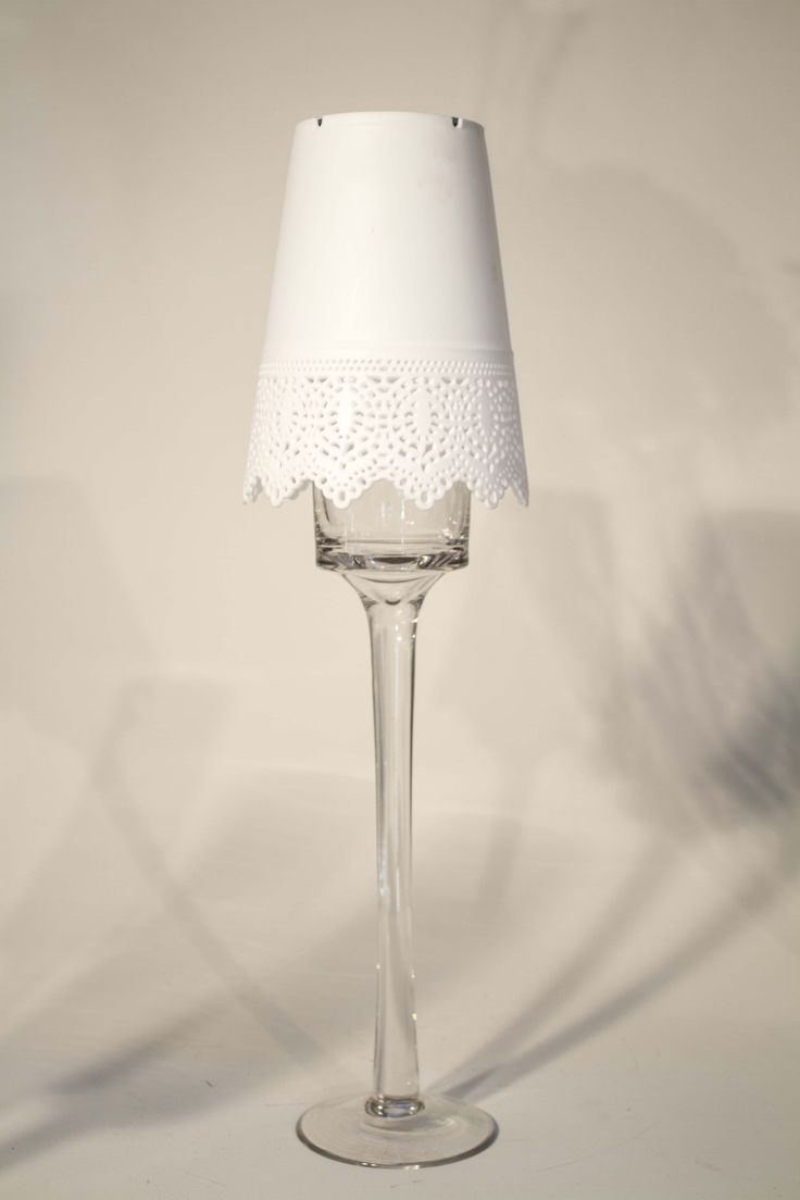 Lampshades with LED light and glass vase for hire.