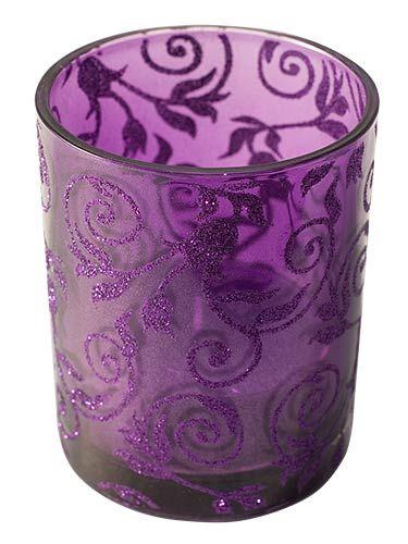 Purple Glitter Swirl Glass Jar with Large Purple Tealight ...