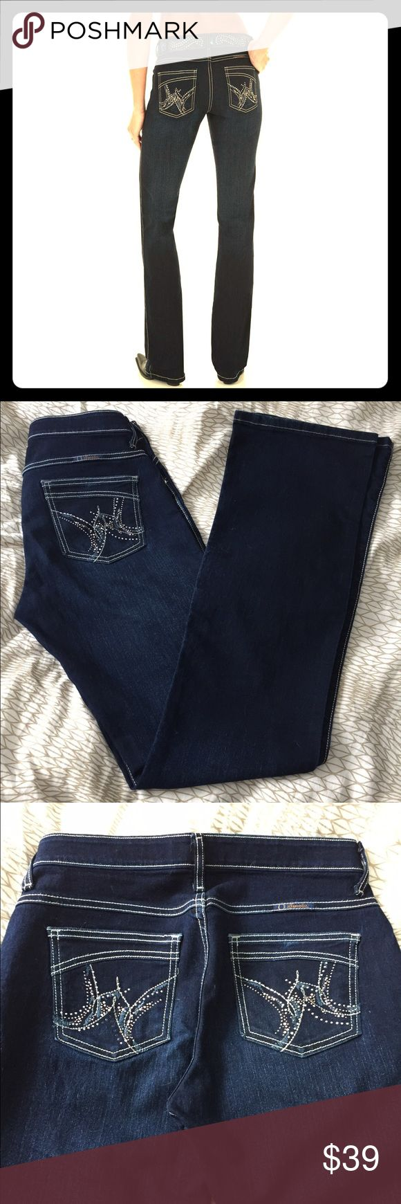 "Like new Wrangler Shiloh Rodeo Sparkle jeans! Calling all tall and leggy ladies... these jeans are for you! These have a 38"" inseam which is perfect if you're tall and/or love heels! These have a no-gap waistband so no worries of indecent exposure when you sit down! Dark rinse denim. These look really classy when worn! Who doesn't love a little cowgirl style now and then. Bootcut style so you can also wear your favorite heels or boots under.  Nearly new condition and from a smoke-free Home…"