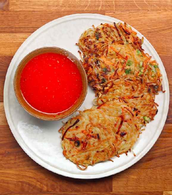 Rice Noodle Pancakes With Sweet Chili