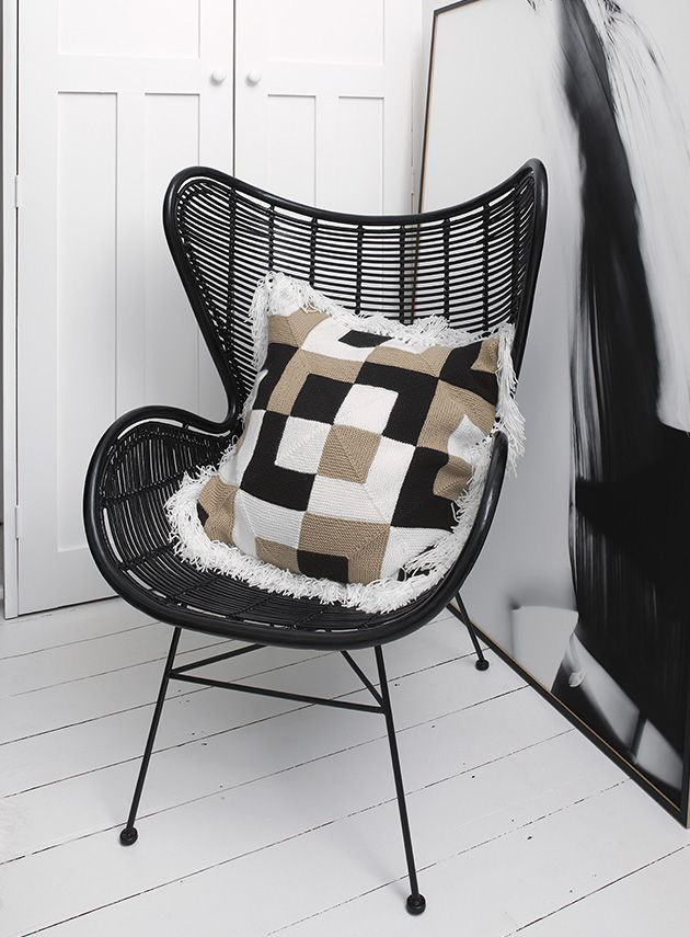 Mitred square knit cushion by Panda Australia