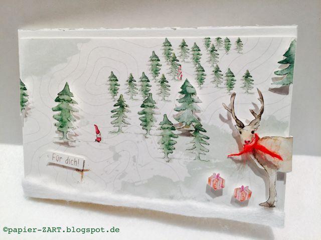 papierZART : Wichtelei im Wald, Waldwichtel, Red Nose, Wichtelgeschichte, Alexandra Renke Karten, Weihnachte, Weihnachtskarte