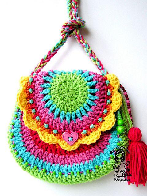 GorgeousCrochet Ideas, Little Girls, Crochet Bags, Handbags, Handmade Bags, Colors, Crochet Purses, Crochet Knits, Rainbows Crochet