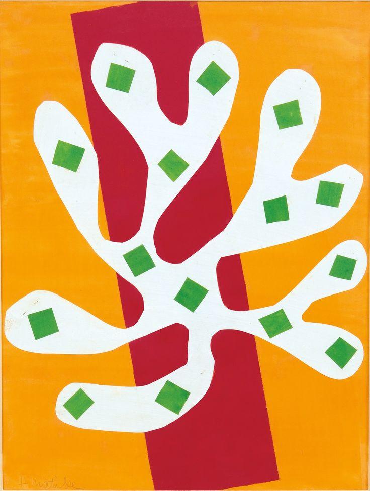 Henri Matisse. White Algae on Orange and Red Background.