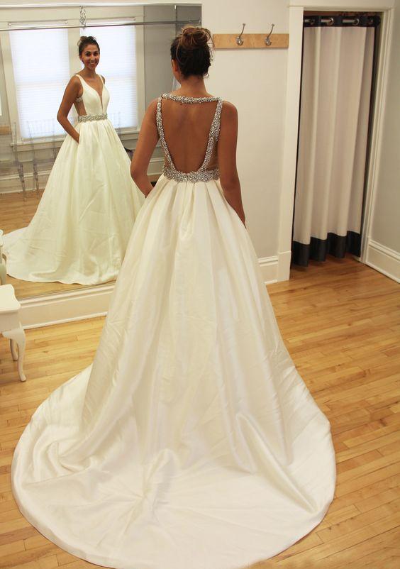 backless white prom dresses, 2017 prom dresses, beaded prom dresses, beading prom dresses, women's prom dresses, dresses for women, high quality prom dresses