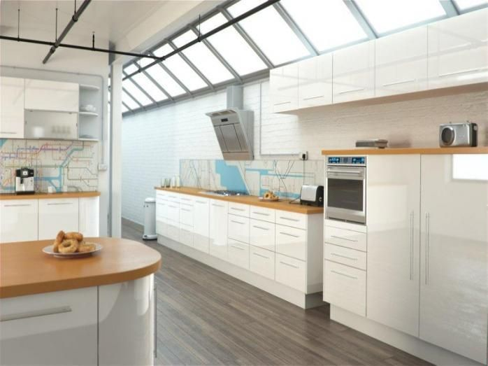 White Kitchen With Wooden Worktops cash & carry hi gloss c. 2900 | kitchen | pinterest | kitchens