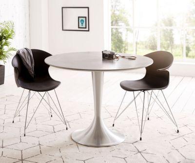Esszimmertisch charo grau 100x100 cm beton rund gestell for Esszimmertisch grau holz