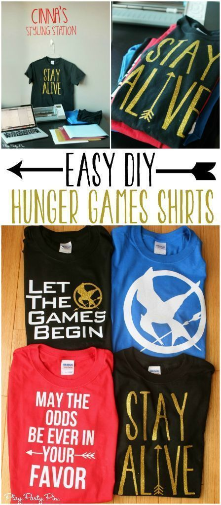 Easy DIY Hunger Games Shirt ideas with four free shirt designs, perfect for watching the movies!